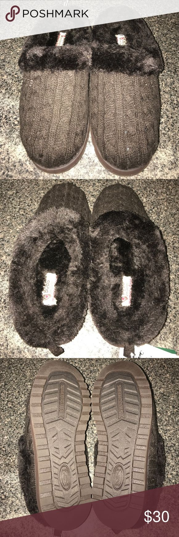 Cold feet? I got the answer! BOBS from Sketchers Keepsakes Delight Slipper in chocolate brown. Padded footbed with faux fur insole and trim. Very comfy to keep the tootsies warm. Sketchers Shoes Mules & Clogs