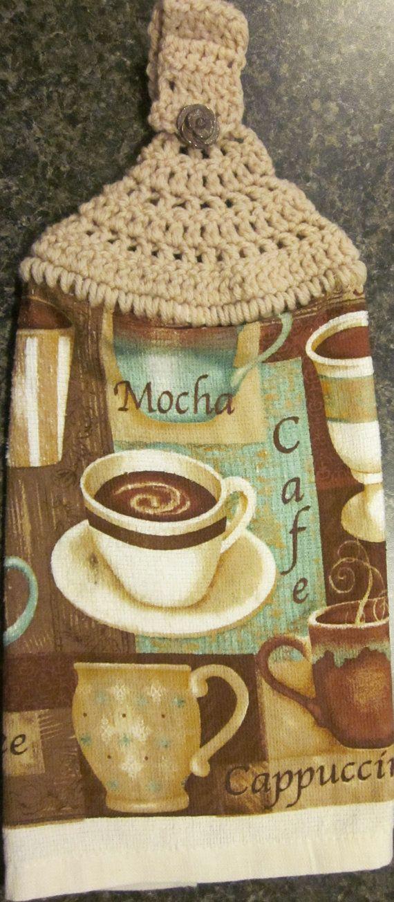 coffee themed kitchen    Handmade Crochet Top Kitchen Towel Coffee Theme by mamabaercrochet