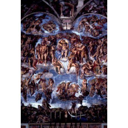 The Last Judgment fresco by Michelangelo Buonarroti 1475-1564 Italy Vatican City Sistine Chapel Circa 1536-41 Canvas Art - Michelangelo Buonarroti (18 x 24)