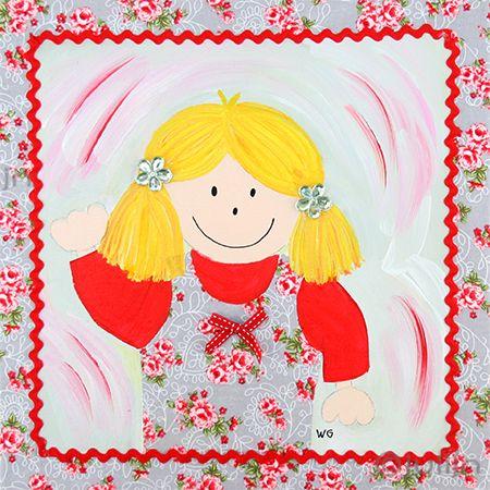 Julia, geschilderd op grijs stof met bloemetjes. het schilderijtje is afgewerkt met een zigzaglintje, strikjes en het meisje heeft bloemetjes in haar haar. www.julijn.nl