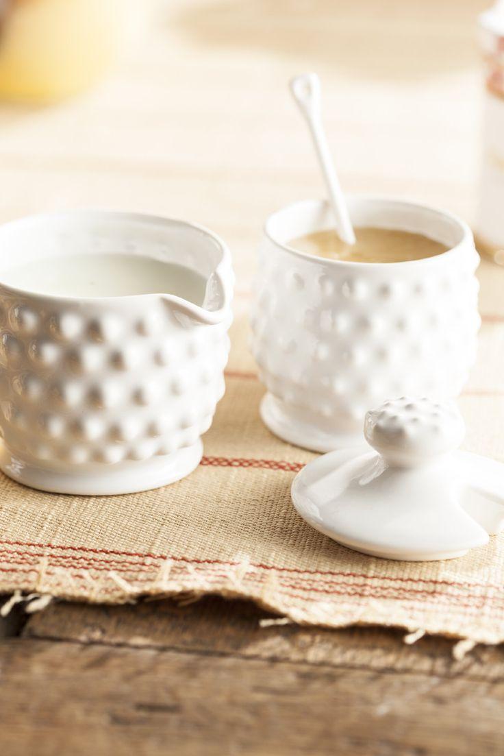 Amazon.com | Rosanna 94976 Farmhouse Pantry Hobnail Condiments Set, White: Condiment Pots: Condiment Pots