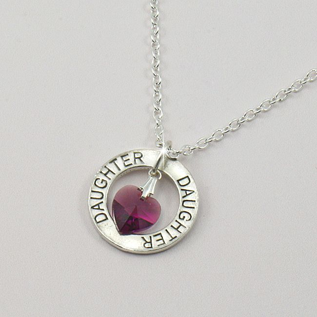 Birthstone heart necklace for Daughter. www.jewels4girls.net