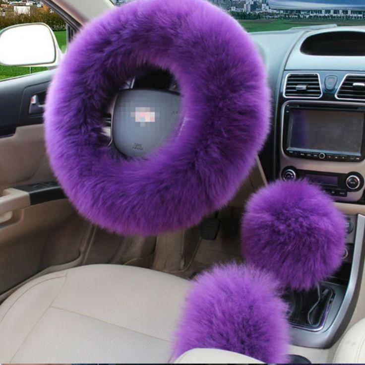 3 Pcs Set Purple Car Steering Wheel Cover Elastic Fluffy