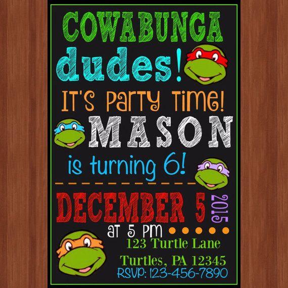 Ninja Turtle Birthday Party Invitation  Ninja by CraftonCrafters
