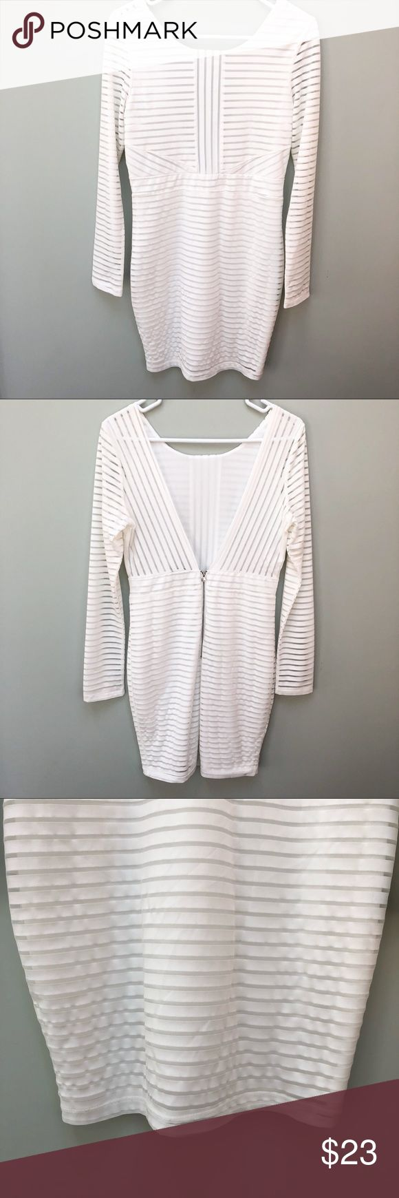 "Long Sleeve Open Back White Stripe Cocktail Dress Great used condition Peekaboo sheer stripes Shoulder to bottom hem 33.5"" Top of zipper to bottom hem 20"" Charlotte Russe Dresses Mini"