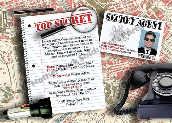 Secret Agent / Spy Birthday Party Invitation
