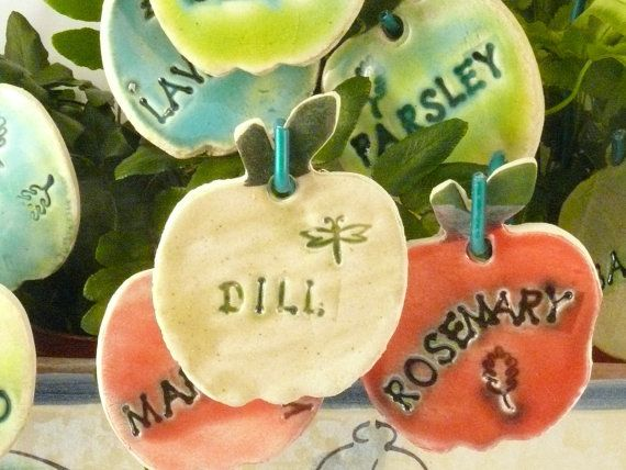Six Ceramic Herb Garden Markers Plant by BlueSkyPotteryCO on Etsy, $48.00