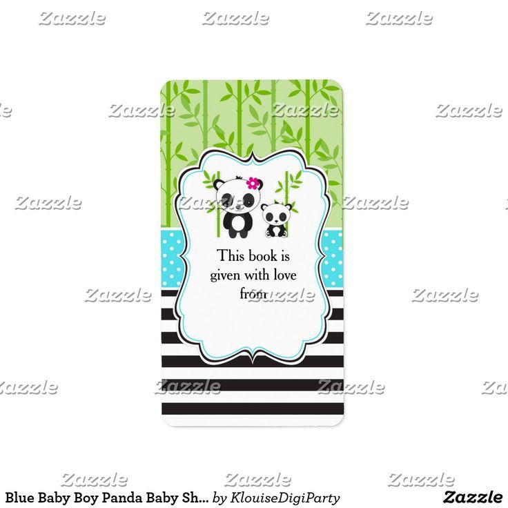 Blue Baby Boy Panda Baby Shower Bookplate