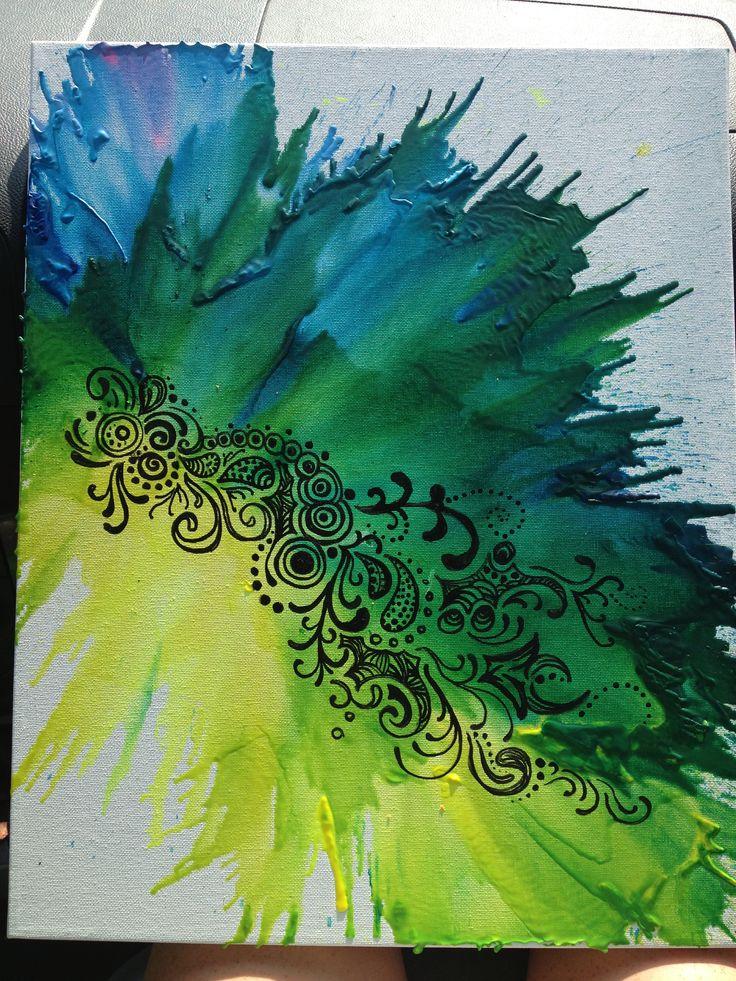 Crayon art with paint marker designs on top! #crayonart #dormart #crafts -kfrank