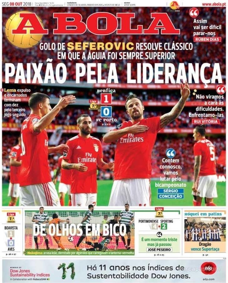 A Bola Sport Lisboa E Benfica Lideranca Capas De Jornais