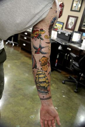 4everUtat2, color tattoo, nautical star tattoo, sailor jerry tattoo, Tim Lees, Tim Lees tattoo, traditional anchor tattoo, traditional hinge tattoo, traditional mermaid tattoo, traditional owl tattoo, traditional shark tattoo, traditional ship tattoo, tra | by timstat2