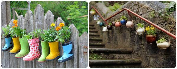 Boot planters & tea pots in a row!Landscapes Plants, Home Exteriors, Cute Ideas, Originals Flower, Landscaping, Nice Ideas, Plants Ideas, Flower Display, Simple Landscapes