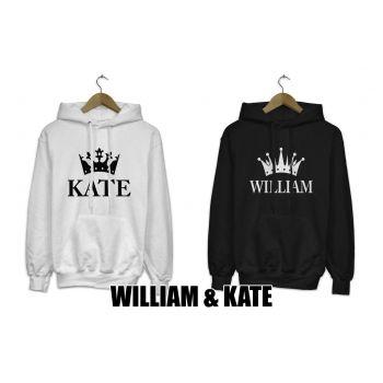 Bluzy z kapturem dla par zakochanych komplet 2 szt WILLIAM & KATE