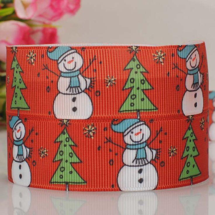 50 ярд 7/8  ( 22 мм ) красный рождественская елка и прекрасный снеговик тканая лента поделки ручной работы hairbow мультфильм лента бесплатная доставка