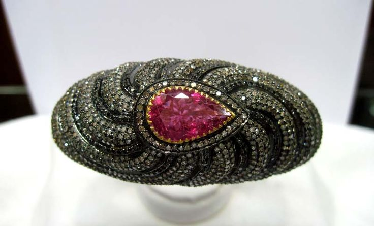 Shop Awesome Pink Tourmaline Diamond Bangle From Gemvanity
