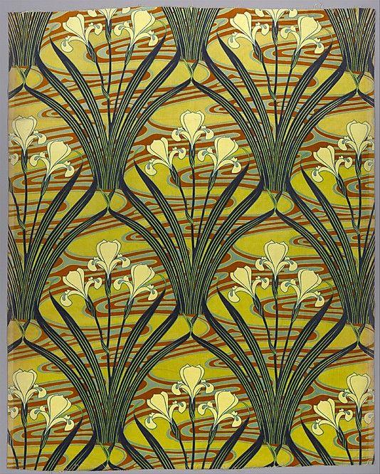 Félix Aubert (1866–1940). Iris D'Eau. Scheurer, Lauth & Cie. 1897–98. French printed textile (Alsace). The Metropolitan Museum of Art, New York.