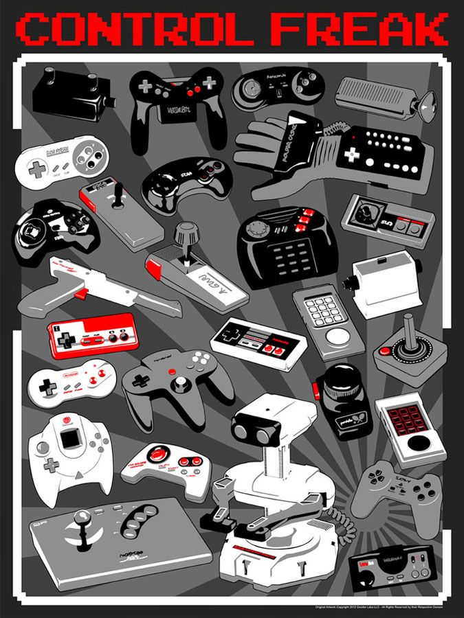 I found this hand drawn poster of retro game controllers just days after it's CONTROL FREAK - A New Poster for the Classic Gaming Fan kickstarter campaign ended - Dammit. The good news it that it achieved it's funding, so you may very well be able to buy a copy of this print.