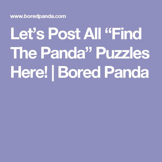 """Let's Post All """"Find The Panda"""" Puzzles Here! 