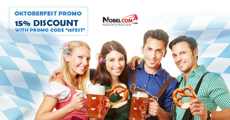 Celebrate Oktoberfest with us and you will receive 15% DISCOUNT on your next purchase by using promo code 15FEST at checkout. The offer expires on October 4th and it is available for phone cards and NobelApp Credit.