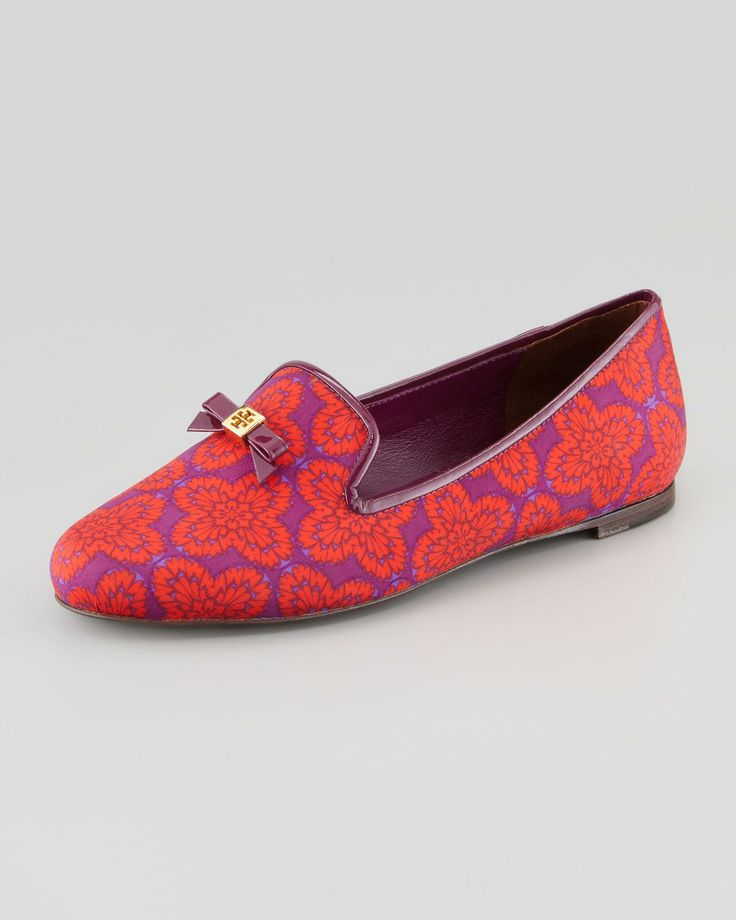 Chandra Printed Smoking Loafer, Orange/Navy by Tory Burch at Neiman Marcus.