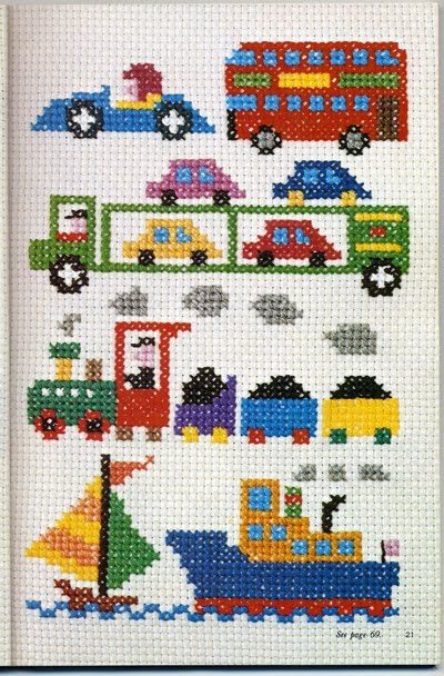 transportation theme cross stitch (picture only)