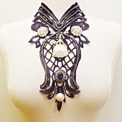 Black Lace Marie Antoinette Necklace Statement Vintage Runway Couture Pearls Rhinestones Big Blue Gem By VintElegance.com