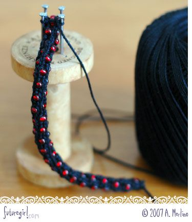spool knitting with beads! Very clever, I wondered how you could french knit with beads...