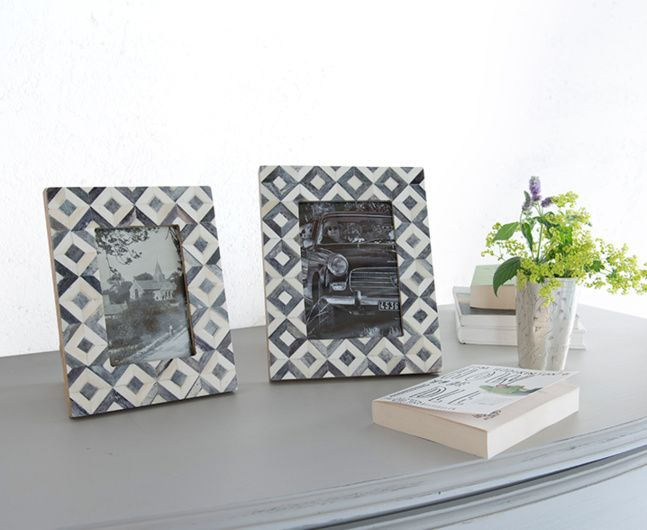 PHOENIX FRAMES. The medium Phoenix photo frame is a lovely monochrome chevron style. It's handmade with an intricate bone-inlay finish. Available in medium and small size.