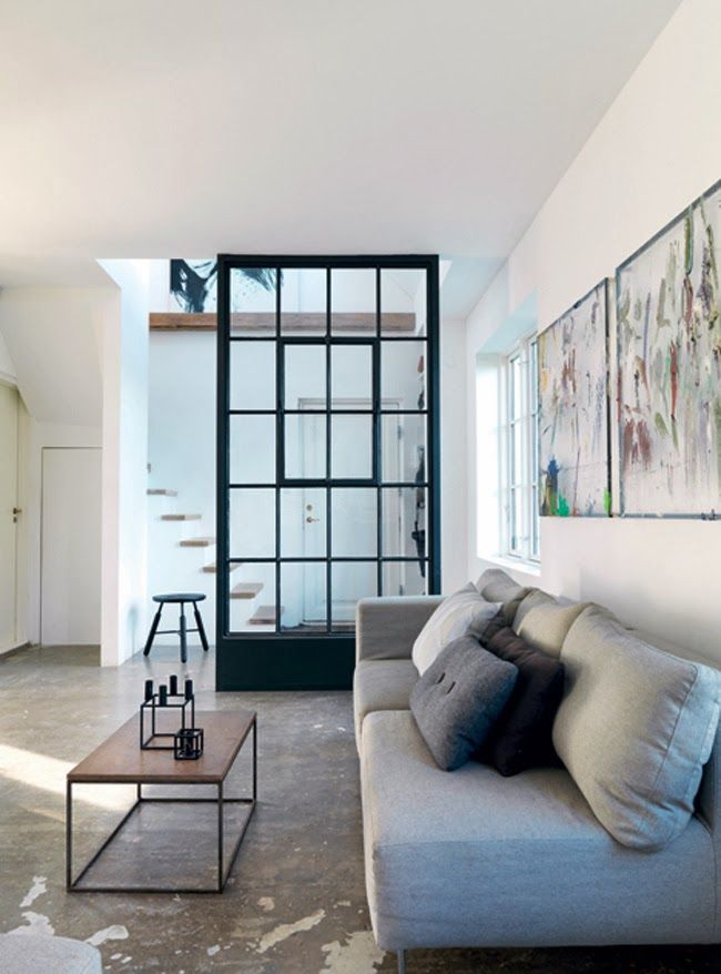Steel windows as a room divider, smart and beautiful - via Stil Inspiration