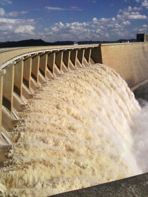 What we thought we'd see: Gariep dam. South Africa. But there was no flowing water due to the drought.