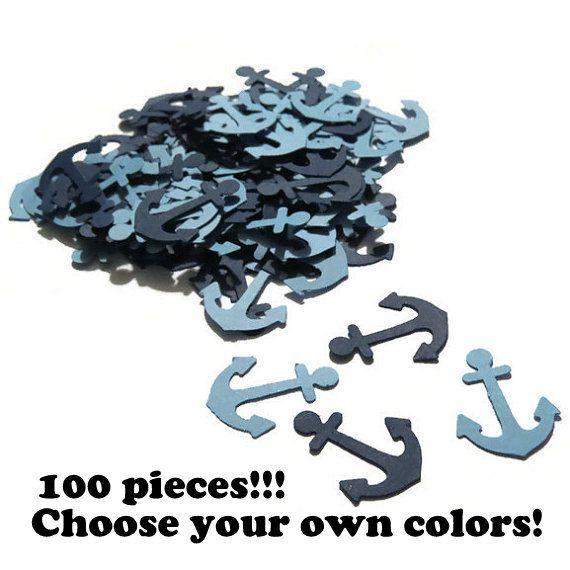anker confetti, nautische baby douche decoraties, klaar in 3-5 werkdagen, 100 stuks, marineblauw, gender reveal