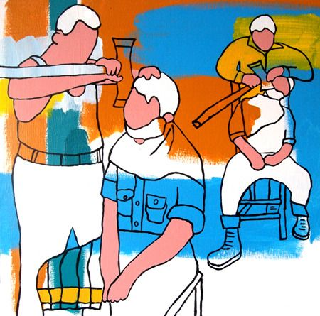 Hugh Ford A Real Man's Shave - 2013 Acrylic on canvas 47 x 47 cm $1750  Solo Show - 'Nostalgic For Now' 01/03/2014 - 12/04/2014