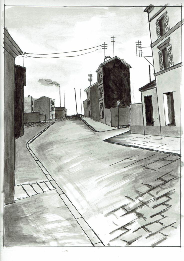 Paesaggio urbano (da una fotografia). disegno:   matita (a mano) Inchiostrazione:   china (a mano) colore:   china (a mano) Anno 2016