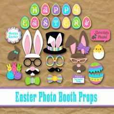 Printable Happy Easter Photo Booth Props and by OldMarket on Etsy, $4.00
