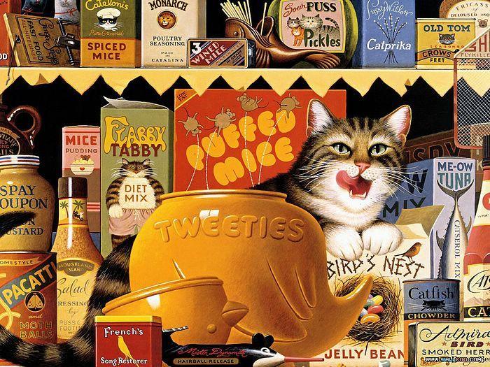 Charles Wysocki (1928-2002)  Безумно понравилось, что столько мелких кошкодеталей прорисовано ;-)