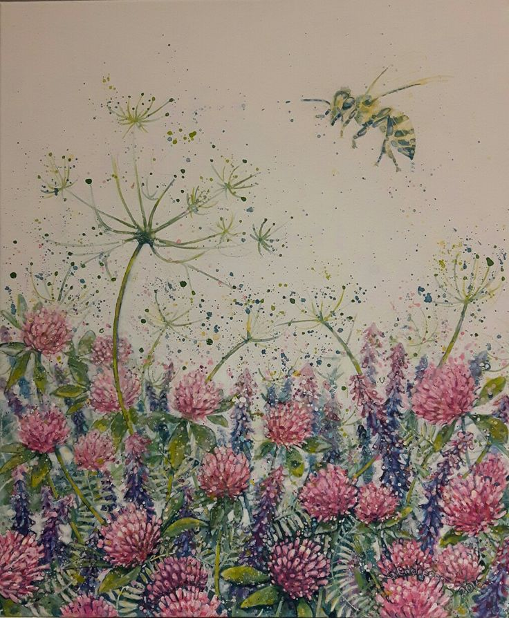 Kløvereng - Sissel Endresen - flowers - bee - painting - art - maleri