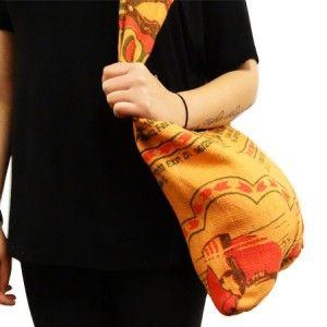 Dubbelzijdige schoudertas gemaakt van juten rijstzakken Oranje uit Nepal