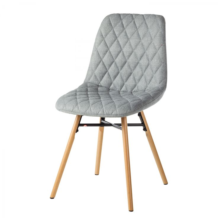 Gestoffeerde stoelen Farelas (2-delige set) - geweven stof/massief beukenhout - lichtgrijs