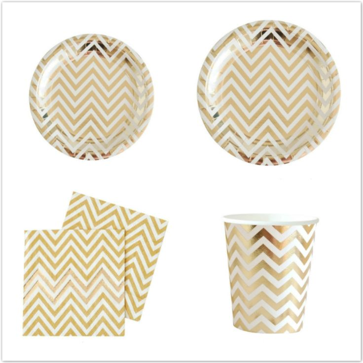 Free Shipping 56pcs Silver Gold Foil Disposable Tableware Party Paper Plates Cups Baby Shower Favor LUHONGPARTY