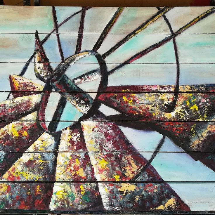 "17 Likes, 4 Comments - Carina Turck-Clark (@thouartuseful) on Instagram: ""Completed the large windmill painting on palette wood. I added some lighter & darker tones to…"""