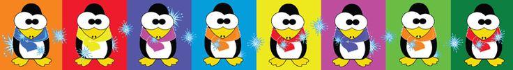 OT/022 Pingüinos. Lindos pingüinos con bufandas de colores.