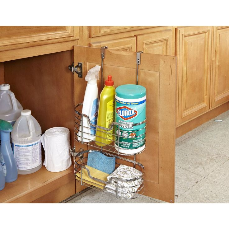 This Kitchen Details Chrome Over the Cabinet Organizer conveniently adds extra storage space to any cabinet!