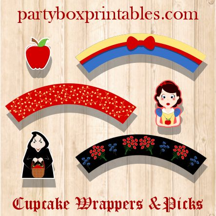 snow white cupcake wrappers and picks  kids birthday party ideas, cool kids parties, party supplies