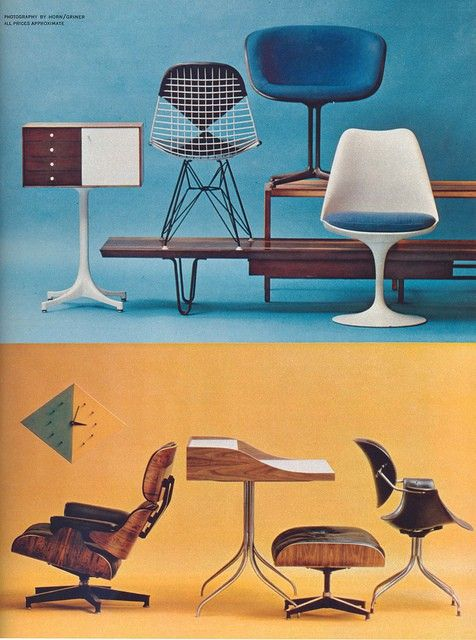 Vintage Herman Miller ad - awesome then and awesome now! I see the wire molded chair, lounge chair and ottoman, and is that a swag leg?