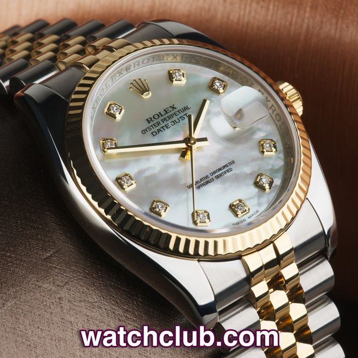 Rolex Datejust 36mm Diamond Dial - 'Rolex Warranty' REF: 116233 | Year 2008 - This current model gents gold & steel Datejust ref.116233 has recently been serviced by Rolex UK, and sports a stunning mother of pearl dial set with 10 brilliant white diamonds. Powered by Rolex's chronometer rated automatic movement (cal.3135) and fitted to the latest gold & steel Jubilee bracelet. Waterproof to 100m - for sale at Watch Club, 28 Old Bond Street, Mayfair, London