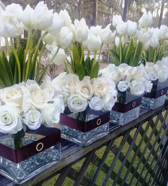 Ivory Tulips Ivory Roses Wedding Centerpiece by SilkFlowersByJean, $90.00