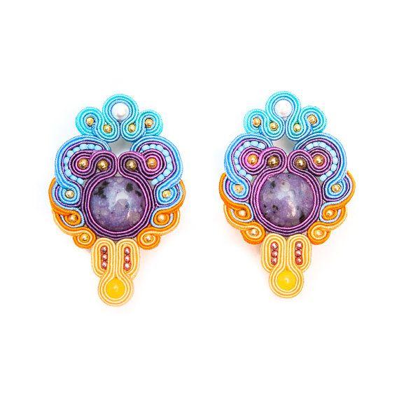 Multi colored - soutache earrings - S20/13 -