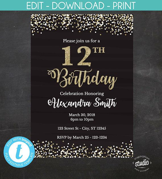 12th Birthday Invitation Easy To Use Template 2 Size Options 60th Birthday Invitations 65th Birthday Invitations 40th Birthday Invitations