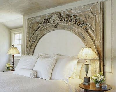 Mantle used as a headboard.  Add burlap in the middle would be fab.