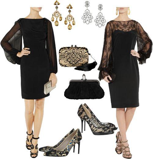 Black lace cocktail dress accessories